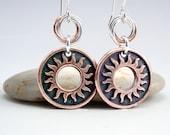 Sun Earrings, Copper Earrings, Celestial Jewelry, Mixed Metal Earrings, Sunburst Earrings, Copper Washers, Silver and Copper