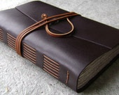"Large Leather Journal, 312 pages, 6""x 9"", dark brown, handmade journal by Dancing Grey Studio(1882)"
