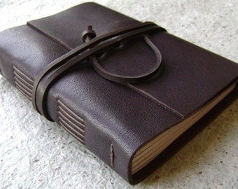 "Leather journal, rustic dark brown journal, 4"" x 6"", handmade journal by Dancing Grey Studio (2018)"