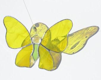 Stained Glass Suncatcher, Yellow Butterfly, Sun Catcher, Garden Art, Garden Butterfly, Mariposa, Home Decor, Whimsical, Garden Fairy, Beads