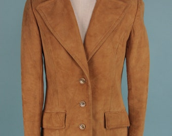 Vintage 70s Sienna Suede Leather Jacket S M
