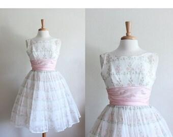 ON SALE 1950s Dress / Vintage 50s White & Pink Floral Party Dress / 50s Party Dress / 50s Floral Dress