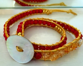 metallic yellow leather with cherry red and citrine wrap