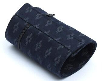 Wrist Wallet, Zippered Wrap Cuff, Hands-free, Secure,  Japanese Indigo Cotton