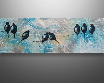 Abstract Painting, Tree Painting, Landscape Painting, Asian art, Abstract Wall Art, Love Birds, Birds On A Wire