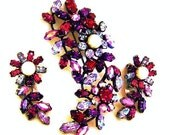 Austrian Pink Red Amethyst Brooch and Earring Set, Austrian Colorful Floral Demi Parure
