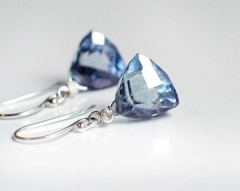Mystic Blue Quartz Earrings | Tanzanite Blue Quartz | Trillion Cut Pyramid Shape | Sterling Silver Dangles | Birthday | Everyday Earrings