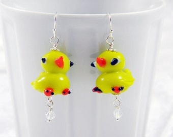 READY TO SHIP Lampwork Rubber Ducky Earrings Sterling Silver Ear Wires