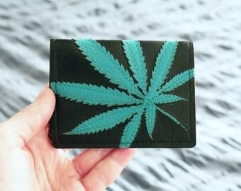 Cannabis Leaf Wallet / Card Case : Turquoise Marijuana Leaf on Black Vegan Leather