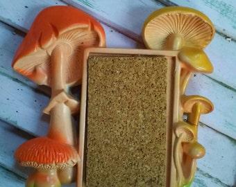 Vintage Mushroom Plaster Plaque with Cork Board