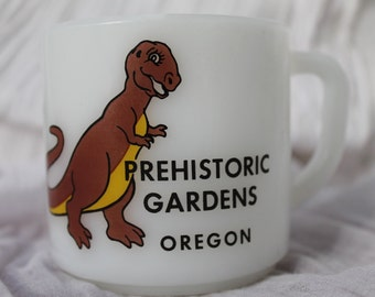 Rare 1970s Prehistoric Gardens Oregon Coffee Mug/ Oregon Collectible/Port Orford Oregon/Vintage Portland/Oregon Coast/Tyrannosaurus Rex