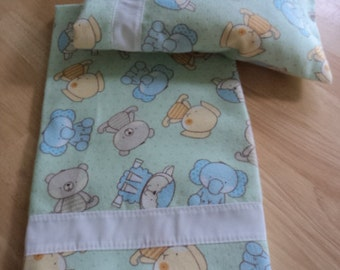 3 pc. Pale green with animals  Sheet blanket set for   Bitty Baby Boy or girl   Dolls