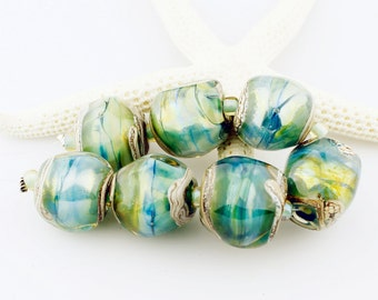 Lampwork Glass Bead Set Iridescent Green, Blue, Chunky Beads