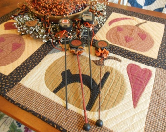 Four Wonderful OOAK Primitive Hand Painted Halloween Noise Makers Pumpkins and Cat - Great for Use or Display