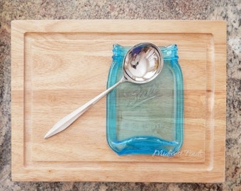 ON SALE Blue Quart Melted Mason Jar Spoon Rest, serving dish, soap dish, gift box included