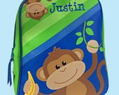 Personalized Stephen Joseph GoGo Backpack BOY MONKEY Themed Backpack-Monogramming Included