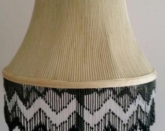 Beige Lamp Shade with Black Beaded Fringe