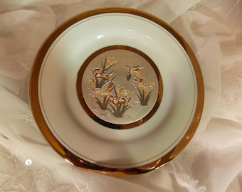 The Art of Chokin 24K Gold Edged Hummingbird Plate Made in Japan Water Iris Plate~Gold Edged Japanese Plate~24K Plate