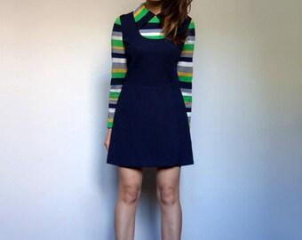 70s Mod Dress Navy Mini Dress Vintage 1970s Striped Dress Long Sleeve Geek Dress - Small to Medium S M