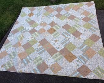 Browns, Greens & Creams Handmade Quilt