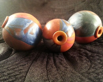 Silver Tangerine Polymer Clay Beads