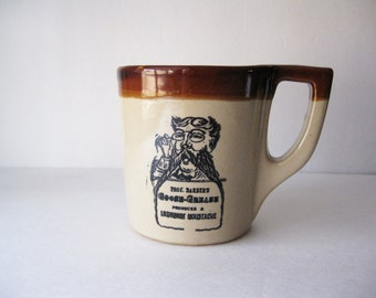 Vintage Prof. Barber's Goose-Grease Luxuriant Mustache Mug, Monmouth Pottery