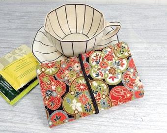 Tea wallet - Travel tea bag case red floral print tea caddie - wallet for teabags - 4 pockets