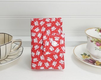 Red Tea wallet - Teabag case for travel - tea wallet by Purple Grace made in Maine - tea pouch