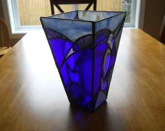 Blue and Purple Stained Glass and Bevel Vase/Candleholder