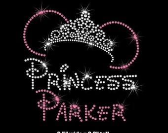 """Your choice of Personalized 6.5"""" Minnie Mouse Princess tiara iron on rhinestone transfer your color choice"""