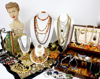 Vintage 60s 80s Autumn Winter Jewelry 111 Piece Lot Costume Jewelry Necklaces Brooches Earrings Bracelets  Some Signed Lot of 111 pieces