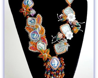TN-016-2016-139 - Tangerine Delights - bead embroidered necklace, bead embroidery, beadwork necklace, beadwoven necklace, beaded necklace