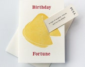 Letterpress Birthday Card - Fortune Cookie birthday Laughter Fun