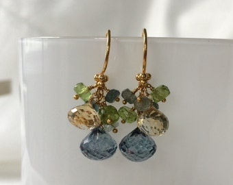 Autumn Inspired Boutique Earrings in Gold Vermeil with Mystic Sage Green Quartz, Citrine, Peridot, Moss Aquamarine