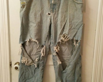 JNCO jeans raver jeans jean 90s graffiti grunge trashed thrashed rap masters 38 36