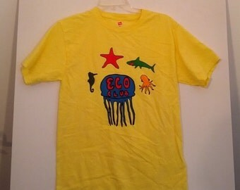 SALE Eco Club tshirt shirt neon dayglo small 90s earth day