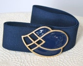 Vintage Belt Navy Blue Stretch Cinch Belt 1980's Day-Lor Buckle Enamel Goldtone Adjustable Fit