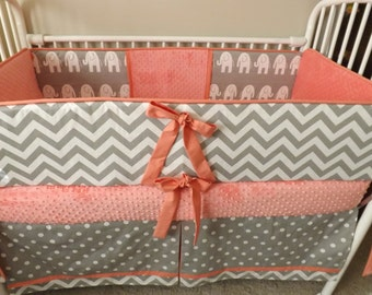 Girl Chevron crib bedding Bumper Pad and skirt Baby Crib Set Coral gray