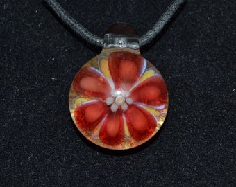 Boro Pendant - Lampwork Glass Jewelry - Hand Blown Focal Bead Red Flower Pendant