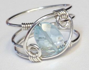 Blue Topaz Ring  Blue Topaz Gemstone Ring   Silver Ring  Rings  Sterling Silver Ring   Blue Topaz Jewelry December Birthstone Ring