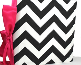 Recipe Organizer-Chevron Black and white Zig Zag- Recipe Album with personalized recipe cards