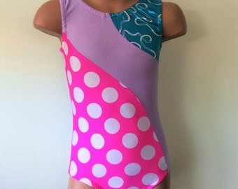 Purple Gymnastic Dance  Leotard with Pink Polka Dots and Swirly Turquoise Insert. Toddlers Gymnastics Leotard. Dancewear. Sizes 2T-Grils 12