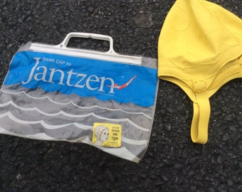 1950s Jantzen Girl's diving swim cap -yellow - Made in England