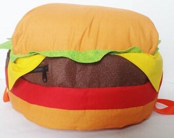 Cheeseburger Backpack- ORIGINAL DESIGN- Made To Order -  Stuffed Cheeseburger Backpack