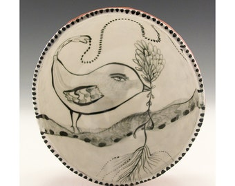 Bird Bowl - White Ceramic Finger Bowl Painted By Jenny Mendes