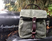 Large Olive Green Waxed Canvas, Cordura, and Leather Reusable Insulated Lunch Bag