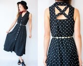 SALE...90's Vintage Black Polka Dot Open Back Dress / Criss Cross Back Shirt Dress / Sleeveless Fit and Flare Maxi Dress