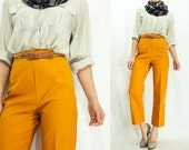 Vintage 70's GOLDENROD Mustard Brown Ultra High Waisted Pants Yellow Trousers / Cropped Bell Bottoms Pants / Hip Hugger Flare