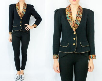 SALE...Black Knit 80's Vintage Glam CHAIN and CHEETAH Print Blazer Jacket