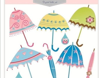ON SALE Digital clipart for girl parasol clipart, umbrella clipart, Png and Jpeg, INSTANT Download